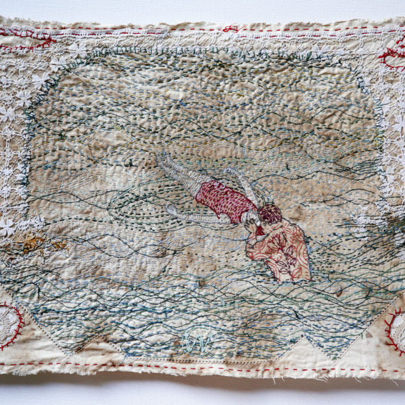 """Save Me"",Hand stitched with cotton thread on used, stained domestic linen, copyright Willemien De Villiers"