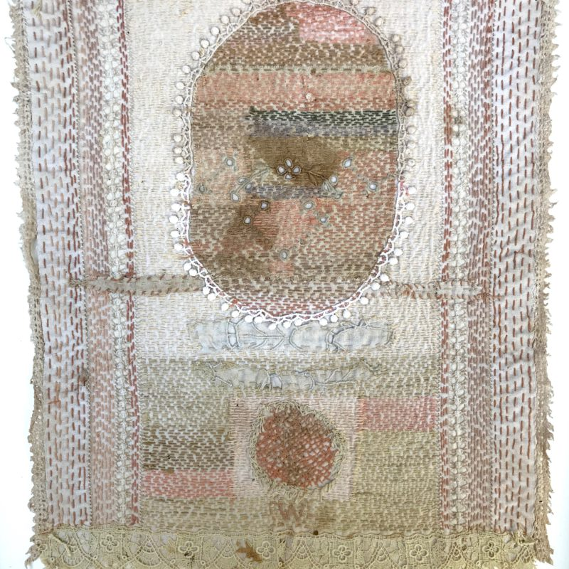 """Bride Series 3"", hand stitched with cotton embroidery thread on found domestic linen, copyright Willemien De Villiers"