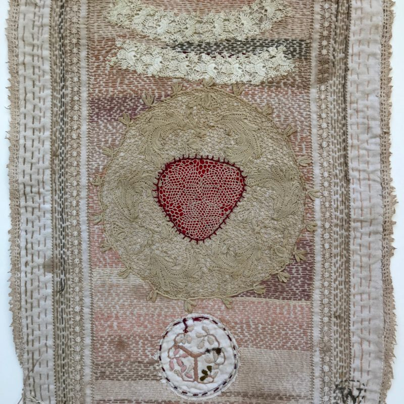 """Bride Series 4"", hand stitched with cotton embroidery thread on found domestic linen, copyright Willemien De Villiers"