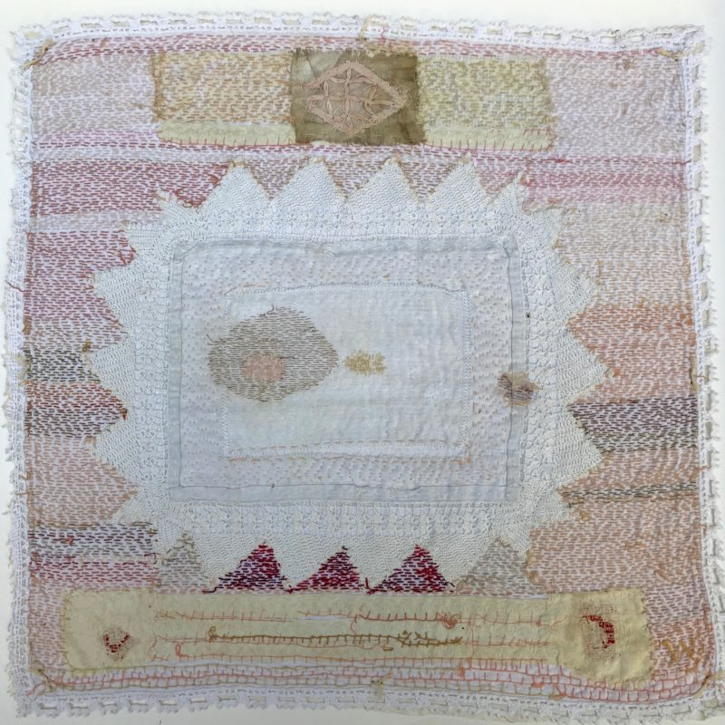 """Bride Series 5"", hand stitched with cotton embroidery thread on found domestic linen, copyright Willemien De Villiers"