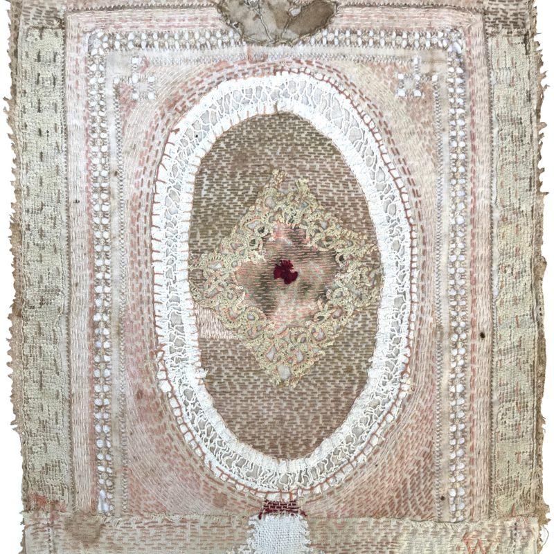 """Bride Series 6"", hand stitched with cotton embroidery thread on found domestic linen, copyright Willemien De Villiers"