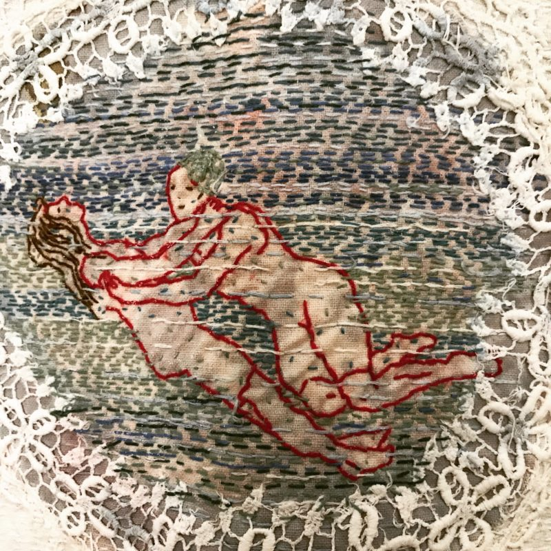 """Save Me - detail"",Hand stitched with cotton thread on used, stained domestic linen, copyright Willemien De Villiers"