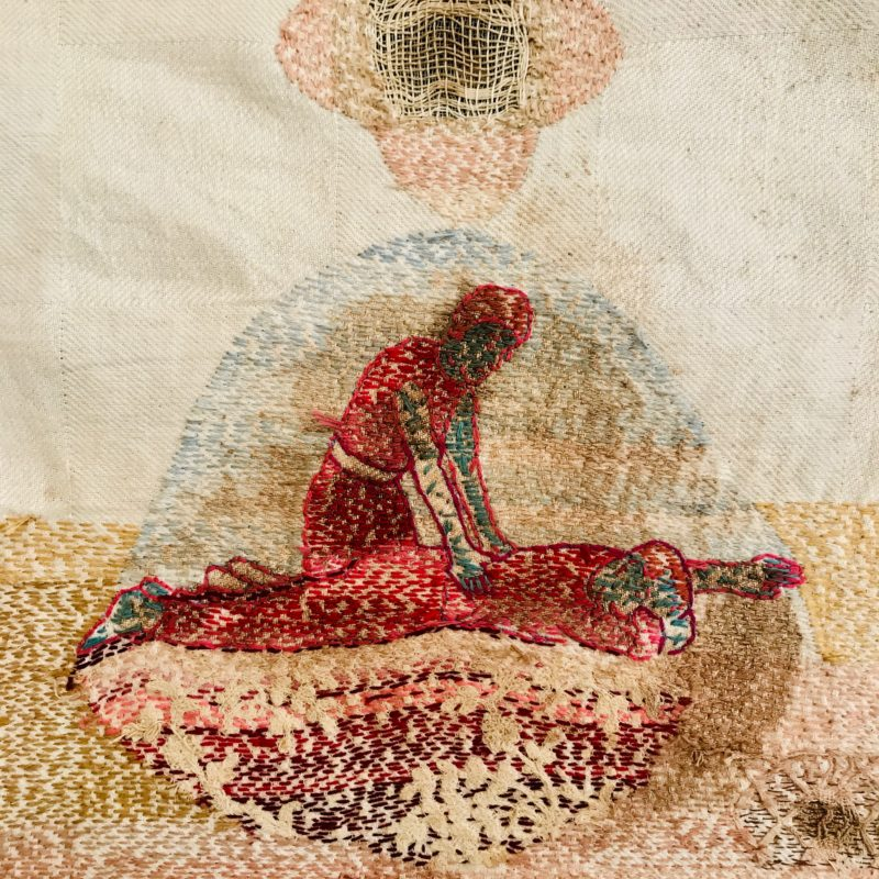 """Save Me – detail process"",Hand stitched with cotton thread on used, stained domestic linen, copyright Willemien De Villiers"