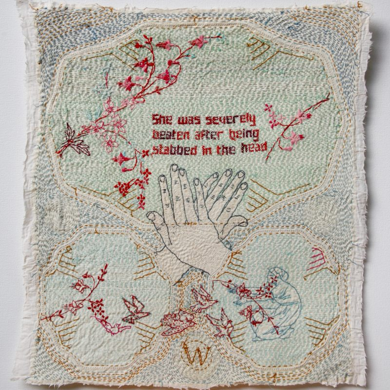 """Domestic"", Hand stitched with cotton thread on used, stained domestic linen, copyright Willemien De Villiers"
