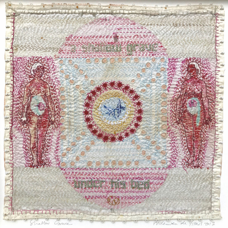 """Domestic 2"", Hand stitched with cotton thread on used, stained domestic linen, copyright Willemien De Villiers"