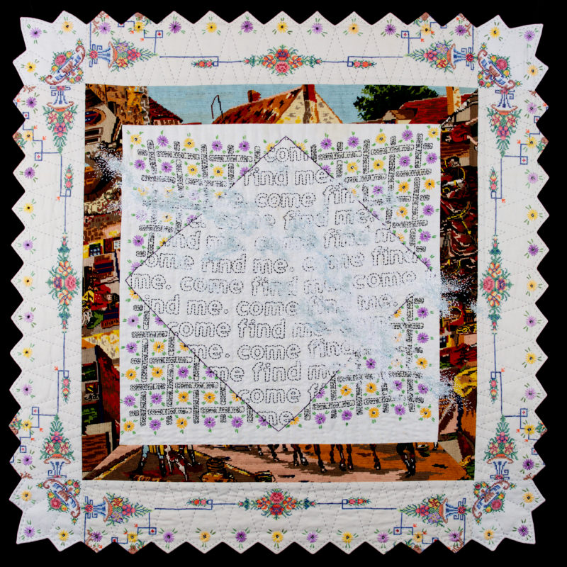 """Snowblind,"" 47""W x 47""W, vintage domestic/household linens, abandoned needlepoint, embroidery, 2017. Private collection, copyright Amy Meissner"