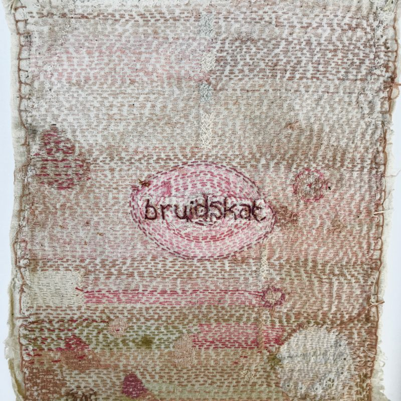 """ Bride Series 1"", hand stitched with cotton embroidery thread on found domestic linen, copyright Willemien De Villiers"