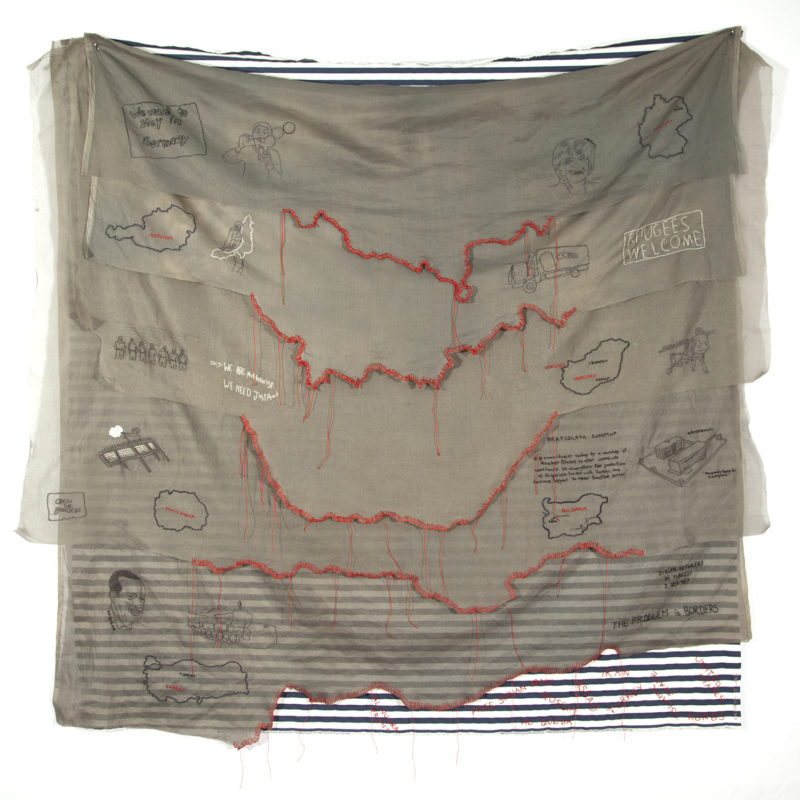 """By Land"", 2017,hand embroidery on cotton organdy. 60"" w x 58"" h, copyright Kathryn Clark"