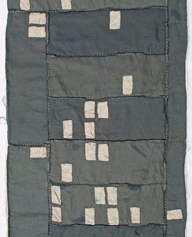 """Cape Coral Foreclosure Quilt"", 2011, 30"" x 44"" Recycled bleached linen, recycled string and embroidery on voile, copyright Kathryn Clark"