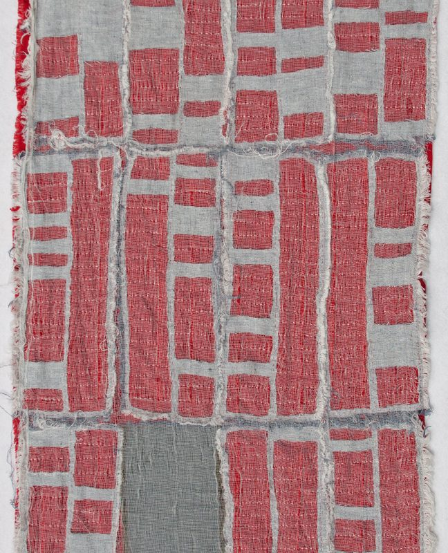 """Detroit Foreclosure Quilt"", 22"" x 44"" Cheesecloth, linen, cotton and quilting thread, copyright Kathryn Clark"