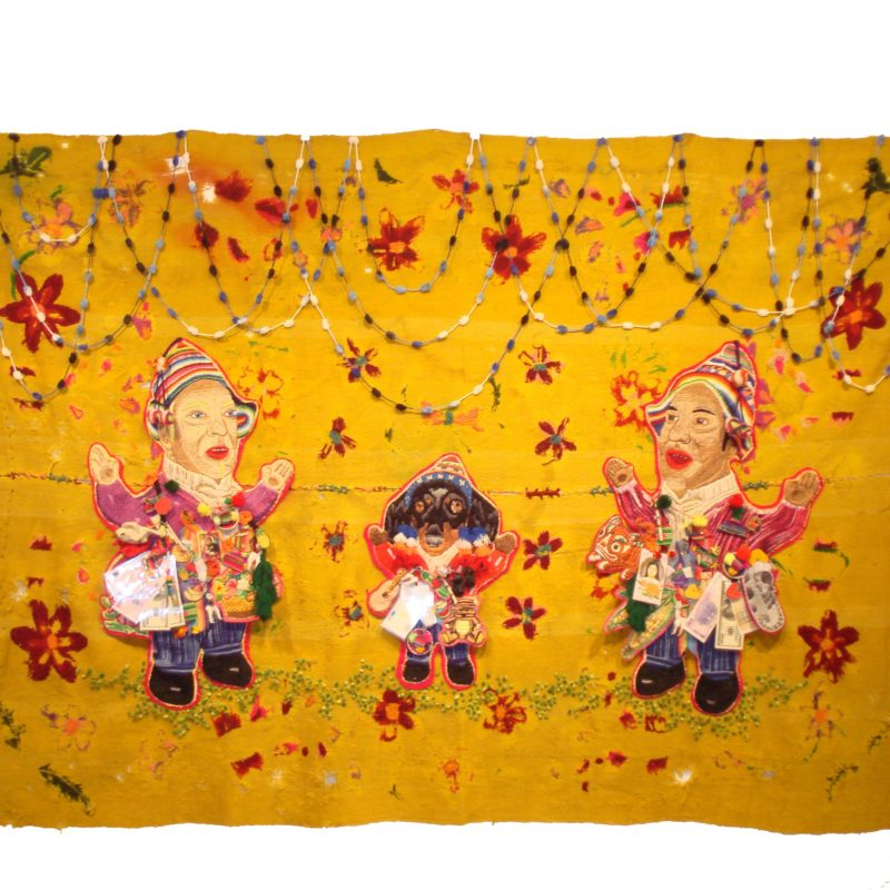 """Familia De La Buena Suerte"", Hand embroidery with cotton thread, wool, pompons, ribbons and p. laminated embroidery on mat from loom belonging to Arq. J Lorenzo 1.3 x 2 m, copyright Chiachio&Giannone"