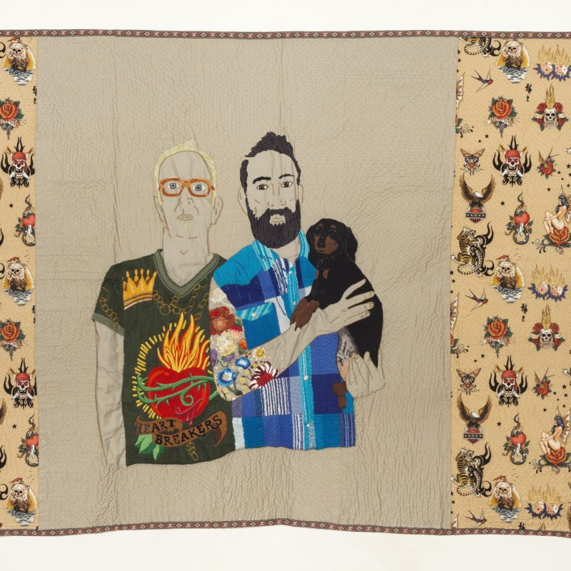 """HeART BREAKERS"", Hand embroidery with cotton threads on gabardine and Alexander Henry© – 1,33 x 1,73 m, copyright Chiachio&Giannone"