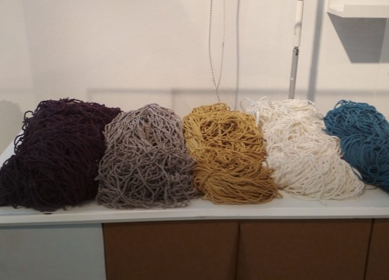Hanks of rayon dyed with natural dyes