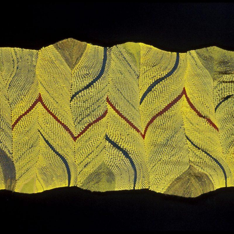 """Yellow Migration"", 2006, 56""x 28"", plastic bags, rayon, raffia, Corporate collection, copyright Deborah Corsini"
