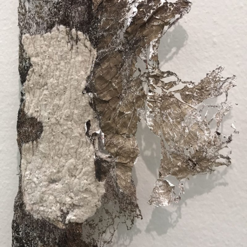 """""""Solace"""", 32""""h x 16""""w, rayon embroidery thread, lint, Keurig coffee filters, house Tyvek, watercolors, 2016, copyright Carla Fisher"""