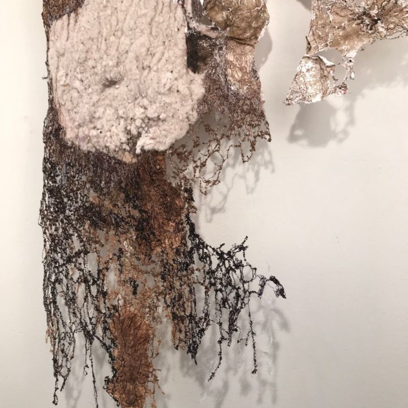 """Solace-detail"", 32""h x 16""w, rayon embroidery thread, lint, Keurig coffee filters, house Tyvek, watercolors, 2016, copyright Carla Fisher"