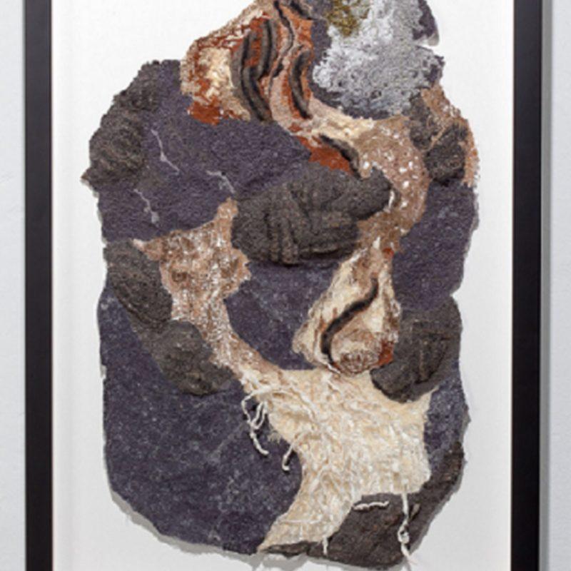 """""""Genesis"""", 28""""h x 24""""w, rayon embroidery thread, felt scraps, 2015, copyright Carla Fisher"""