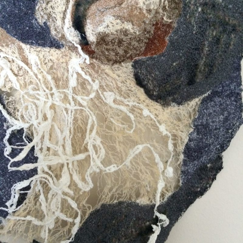 """Genesis-detail"", 28""h x 24""w, rayon embroidery thread, felt scraps, 2015, copyright Carla Fisher"
