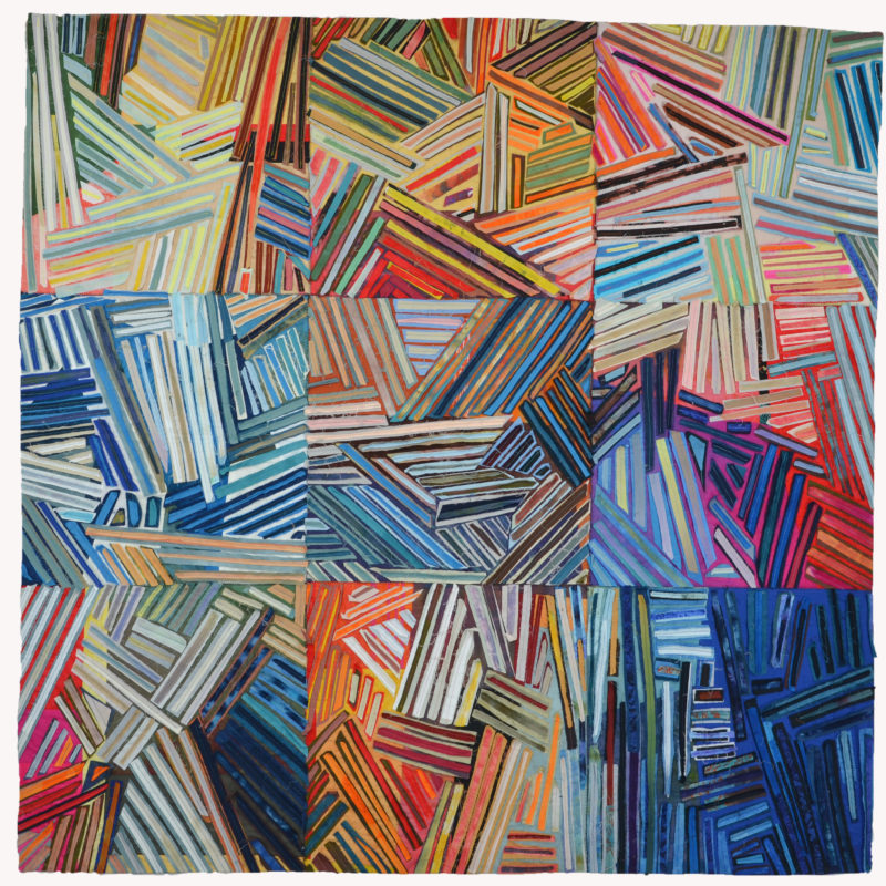 """Chaos: The Butterfly Effect"", 60x60"",Best of Show, Quilt=Art=Quilts,  Schweinfurth Memorial Art Center, Private Collection, photo credit Paul Vincent, copyright Kit Vincent"