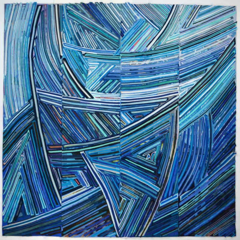 """Tricolour Blue"", 72x72"", Mastery: Sustaining Momentum Exhibit Dairy Barn Art Center, photo credit Paul Vincent, copyright Kit Vincent"