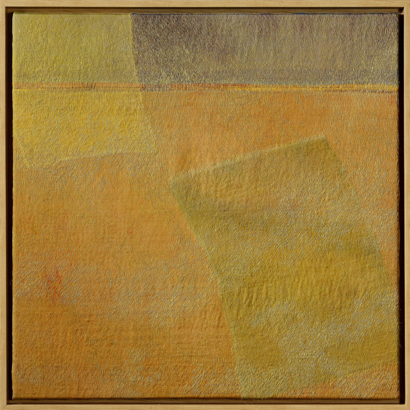 """Desert Spirits"",2016, 24""x24"", hand stitched, hand dyed overlay silk collage, copyright Carolyn Nelson"
