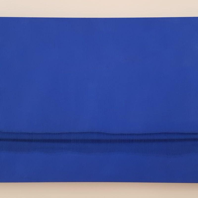 """""""Metafora Blu Cobalto 17"""", pigmenti secchi su tela cucita, su telaio, 2019, copyright Sidival Fila"""