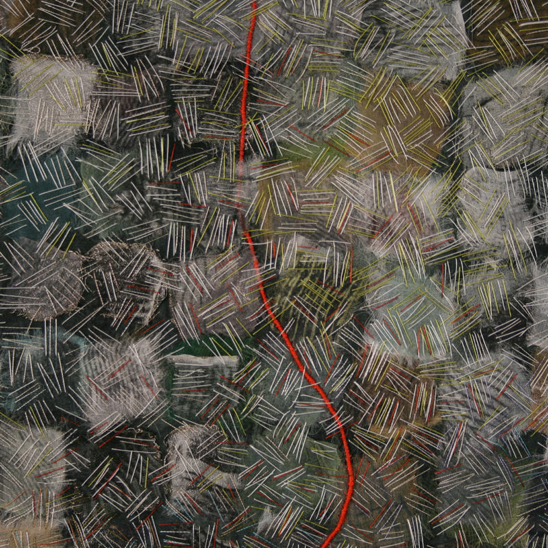 """Fragment II: from a Love Story-detail"", 2009, 28""x26"", hand stitched, hand dyed silk collage, oil monoprint on silk, copyright Carolyn Nelson"