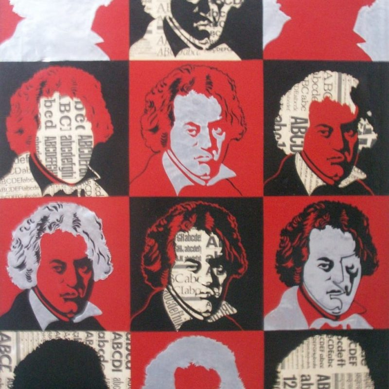 """Beethoven"", 1972, Mixed media on canvas (paper, aluminum foil, enamel ink), 78x58cm, copyright Alves Dias"