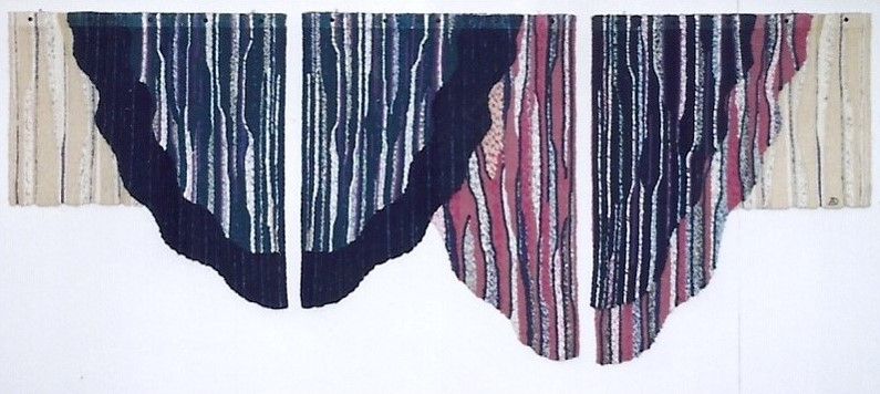 """Totens"", 1987, Embroidered tapestry (linen, cotton, acrylic fiber), 16x5cm, 16x4cm, 16x3cm, author's collection, copyright Alves Dias"