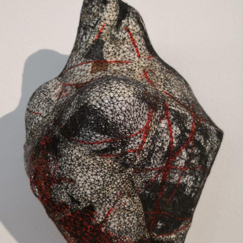 """VelaturaTêxtil IV"", 2018, Tapestry object(papers,wastes of various textile fibers , fabrics, stones and cotton), 26x18cm, copyright Alves Dias"