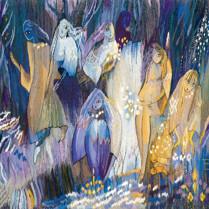 """A night of girls hopes"", wool, artificial fibers, weaving, 134x105, 2003, copyright Tetiana Vytiaglovska"