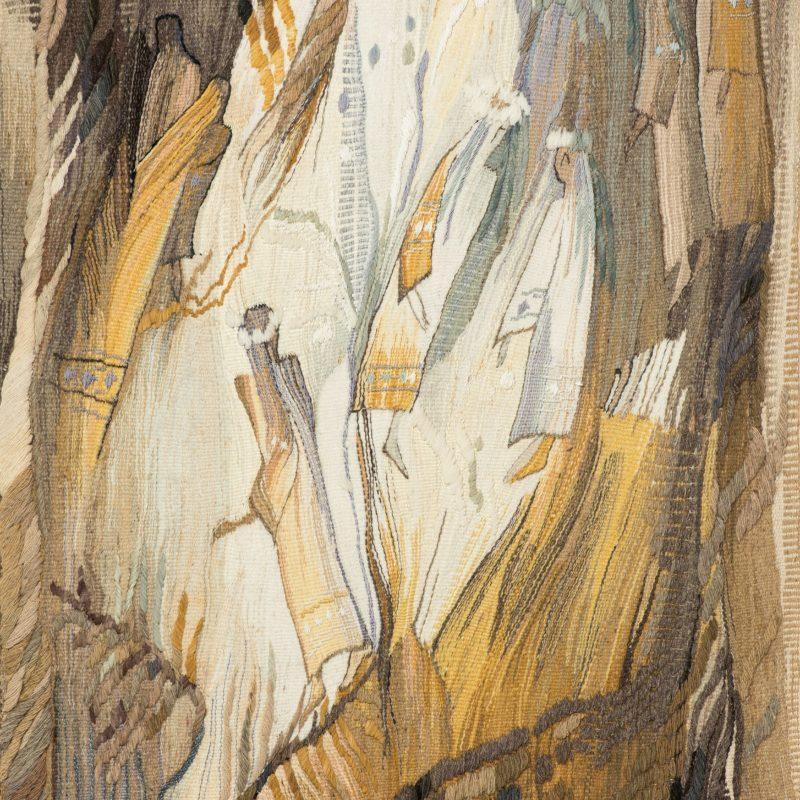 """Looking for a Happy Flower"", wool, artificial fibers, weaving, 139x72, 1995, copyright Tetiana Vytiaglovska"
