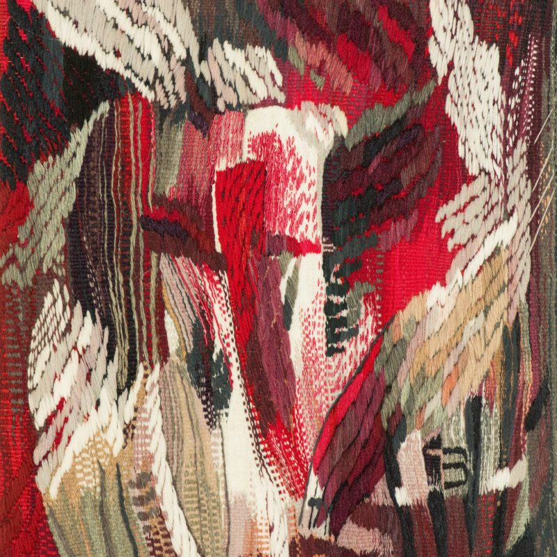 """A Good Mood in the Maroon Chaos"", wool, artificial fibers, weaving, 80x60, 2000, copyright Tetiana Vytiaglovska"