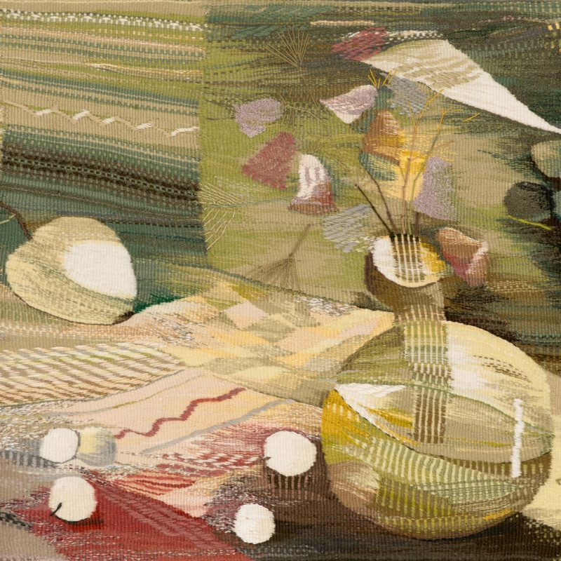 """The Green Still Life"", Wool, artificial fibers, weaving, 100x78, 2007, copyright Tetiana Vytiaglovska"