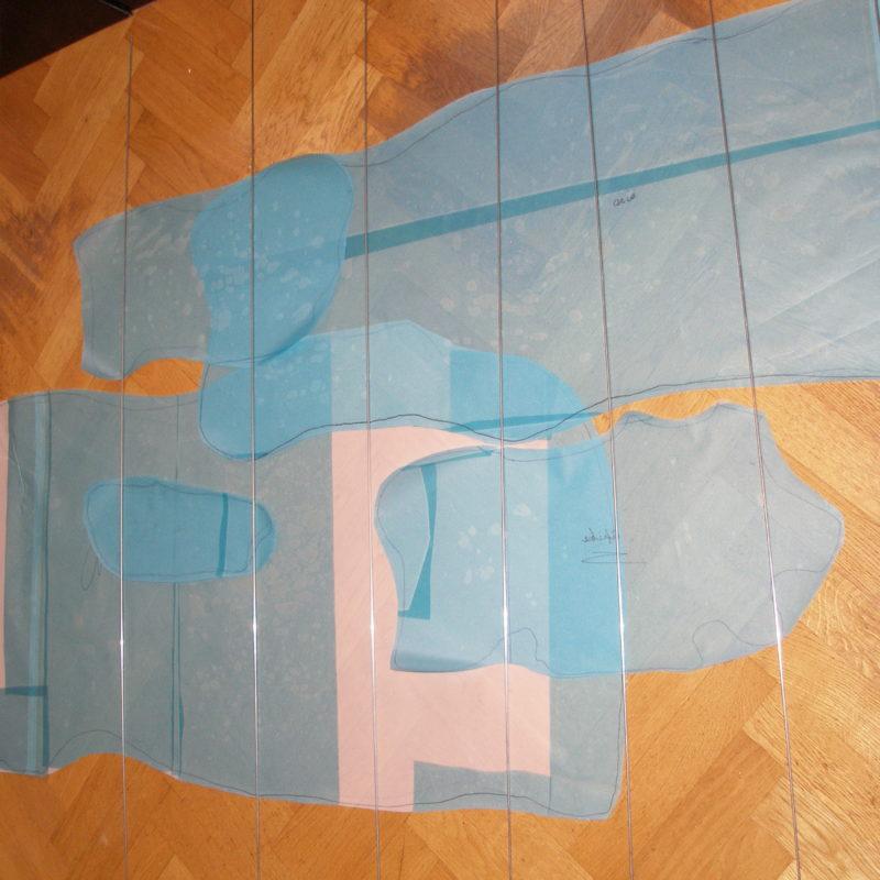 """""""Strategima"""", work in progress, 2011, 210x80x210 cm, Tencel yarn, Stainless steel,Transparent hose, copyright Annie Verhoeven"""