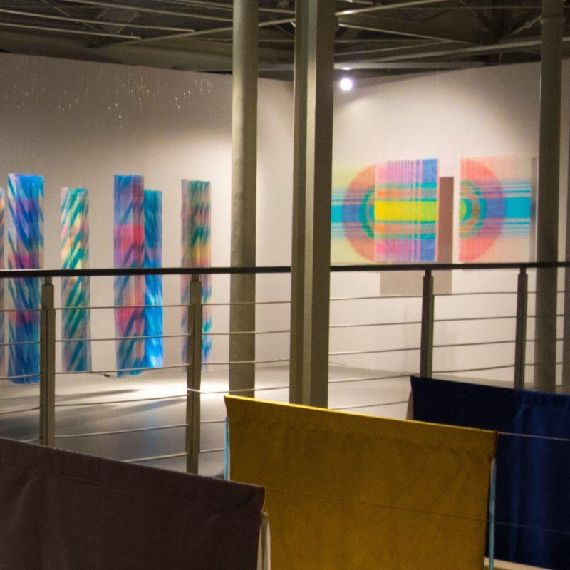 """""""Distinct Connection"""" on 16th International Textile Triennial of Lodz2019, Triptych 80x100/70x100/80x100 cm, 2017, copyright Agata Ciechomska"""
