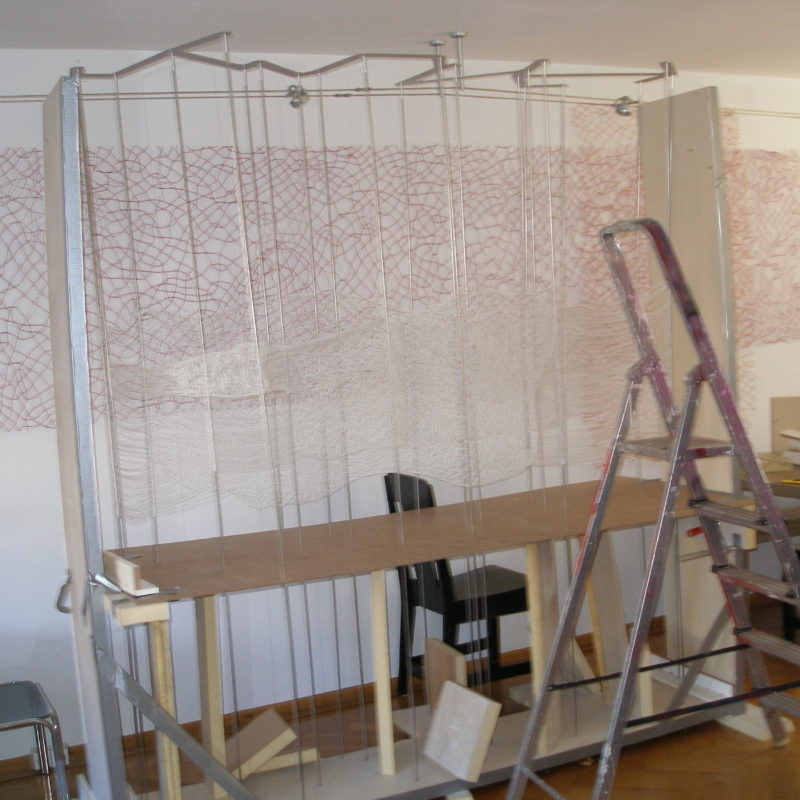 """Strategima"", work in progress, 2011, 210x80x210 cm, Tencel yarn, Stainless steel,Transparent hose, copyright Annie Verhoeven"
