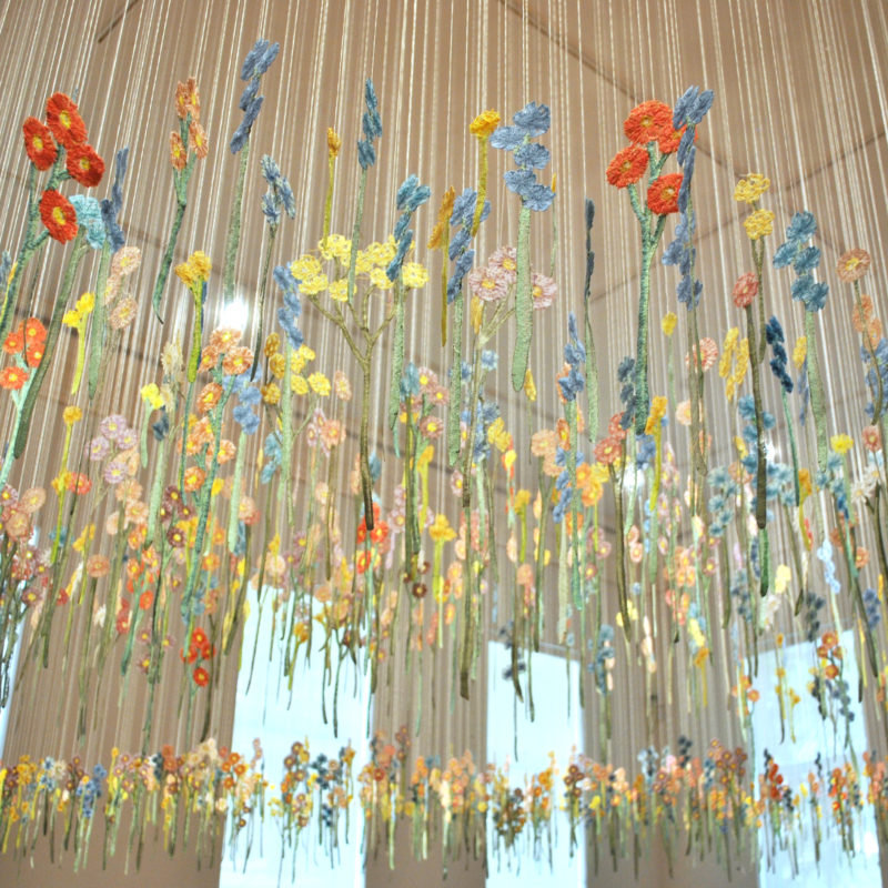 """Floating Garden"", 2012- Ongoing, 14' h x 30' w x 20' d, Thread/ Machine Embroidery, Cornell Museum of Art, Delray Beach, Florida, Photo Matt Sturgess, 4th Ave Photo, copyright Amanda McCavour"