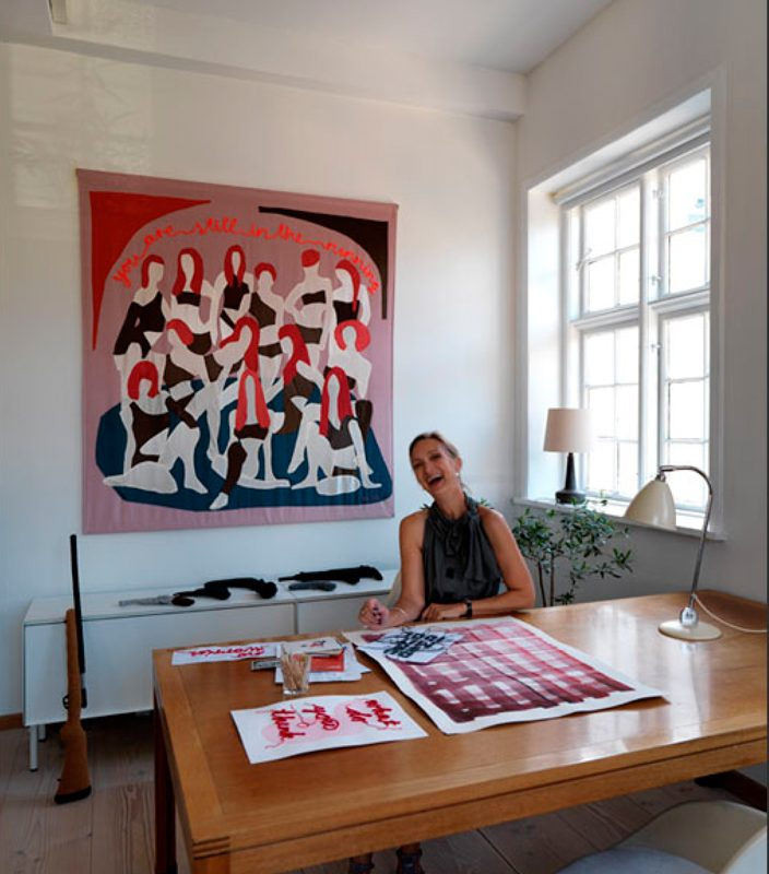 "The artist and her artwork ""You Are Still in The Running"", 2008, wool, cashmere, silk, yarn, and other materials, ten handsewn wall hangings 170 x 150 cm, copyright Hanne G."