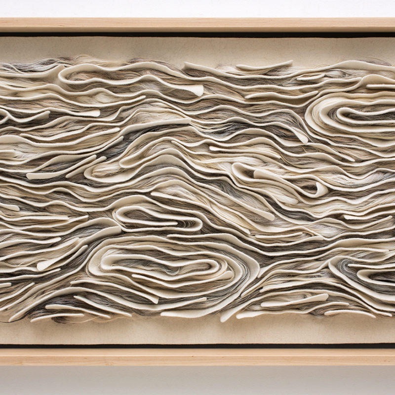 """Wind and Lots of Sand"", 2016, 48x26x3.5 inch, merino wool, Navajo churro wool, maple frame, copyright Kristy Kun"
