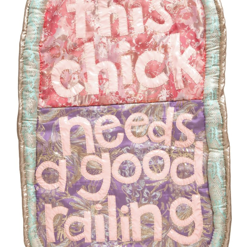"""Good Railing"", Alt Caps Series, fabric, polyfill& cotton batting, 21 x 33 inches, 2017, copyright Natalie Baxter"