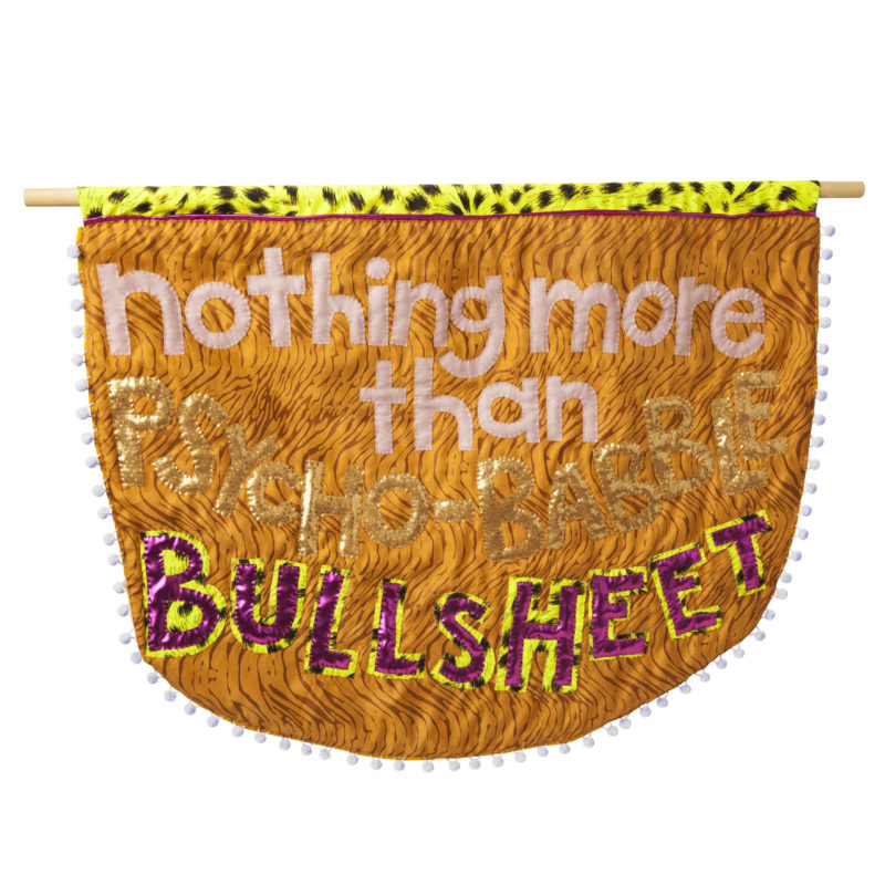 """Bullsheet""Alt Caps Series, fabric, polyfill, cotton batting & pom-poms, 25 x 32 inches, 2017, copyright Natalie Baxter"