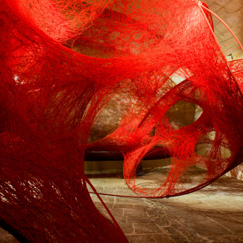 """Circulation"", 2018, Installation: metal rings, red wool, Valletta 2018 European Capital of Culture, Valletta, Malta, Photo by Daniel Mifsud, © SIAE, Rome, 2020 and the artist"