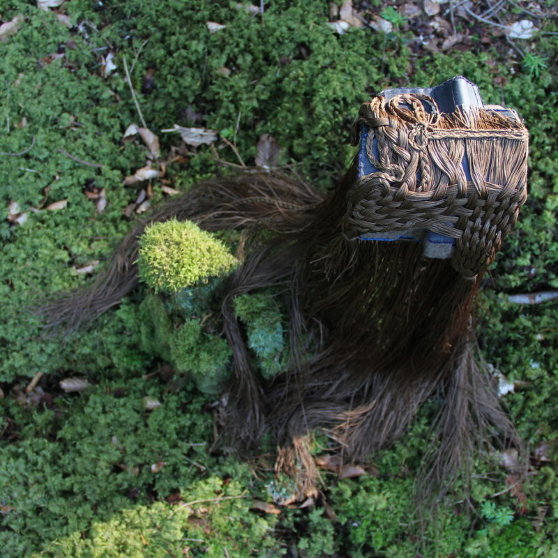 """L'Américaine, Habiter les bois"", boiled wool, poissed thread, cotton, rubber, brass 10/15/65 cm, copyright Lucie Richard-Bertrand"