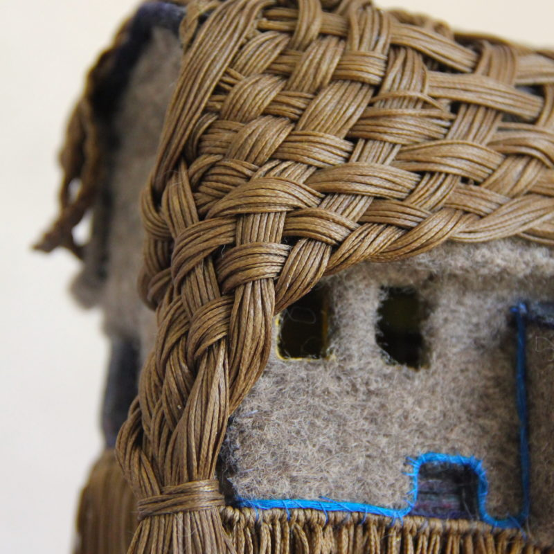"""""""L'Americaine-detail"""",boiled wool, poissed thread, cotton, rubber, brass 10/15/65 cm,  copyright Lucie Richard-Bertrand"""