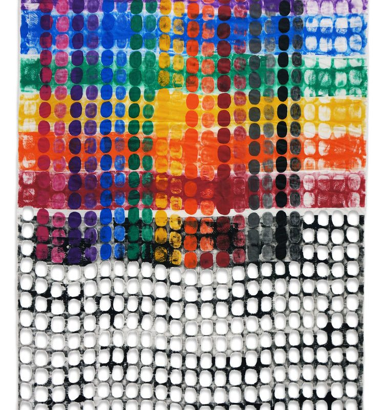 """""""Fence Patterned Chuppah #8"""", 75"""" x 48"""", 2014, copyright Jeanne Williamson Ostroff"""