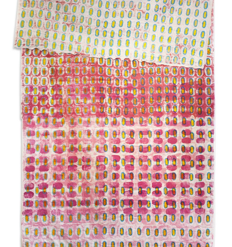 """Fence Patterned Chuppah #2"", 93"" x 48"" (unfolded), 2014 copyright Jeanne Williamson Ostroff"