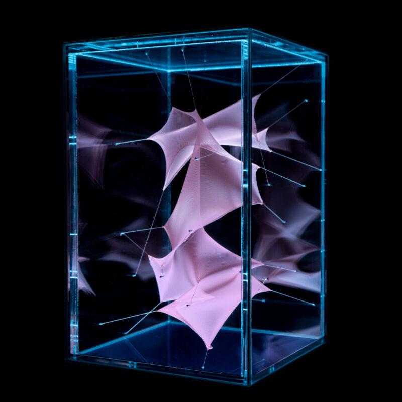 """TDL25"", 2020, 162x26x26cm Glass, methacrylate, spandex, thread and rgb led spotlight, copyright Nei Albertì"