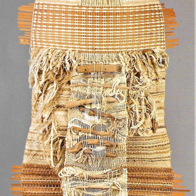 Sacco senza cusidure (Seamless bag) 1982 textile sculpture, cotton, wool, vegetable fibers, wood - 220 cm high