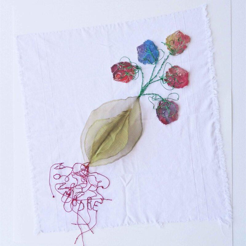 """Laura VdB Facchini, """"Non madre"""", 2015, pannolino, carta, ottone, filati, tempera, 50x56 cm"""
